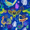 Birds on Cerulean Blue (Original)