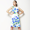 Hand Painted Blue Bird and Flower Blossom (Dress)