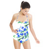 Hand Painted Blue Bird and Flower Blossom (Swimsuit)