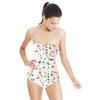Hand Painted Watercolour Green Blossom (Swimsuit)