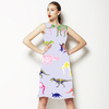 Multicolor Pattern With Dinosaurs and Mammoth (Dress)