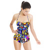 Seamless Abstract Colorful Inspired Handmade Floral Textile (Swimsuit)