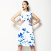 Marbling Paper Pattern Blue Detail (Dress)