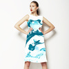 Marbling Paper Pattern Aqua Blue (Dress)