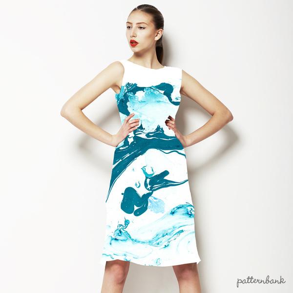 Marbling Paper Pattern Aqua Blue