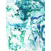 Marbling Paper Pattern Green & Blue (Original)