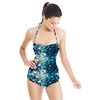 Monoprint Artistic Digital Texture Speckled Stripe (Swimsuit)