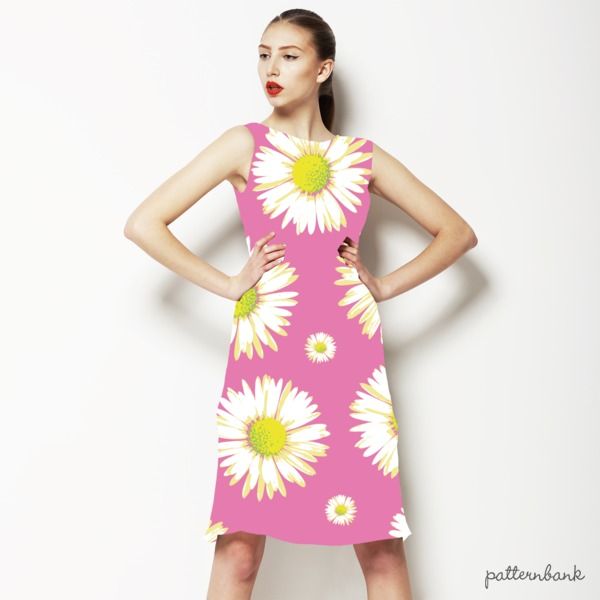 Pink Base Daisy Vector Repeat Print
