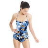 Denim Textured Floral Butterfly Print (Swimsuit)