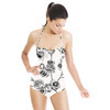 Hand Drawn Black and White Roses (Swimsuit)