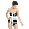Brushed Black Hand Drawn Stripes in a Seamless Pattern. (Swimsuit)