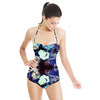 Painted Abstract Roses White Purple Black (Swimsuit)