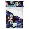 Painted Abstract Roses White Purple Black (Bed)