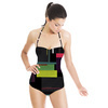 Geometric Colour Palette Collage (Swimsuit)