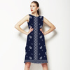 Blue and White Repeat and Border Paisley (Dress)