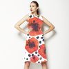 Hand Painted Watercolor Graphic Poppies With Brush Dotts (Dress)