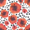 Hand Painted Watercolor Graphic Poppies With Brush Dotts (Original)