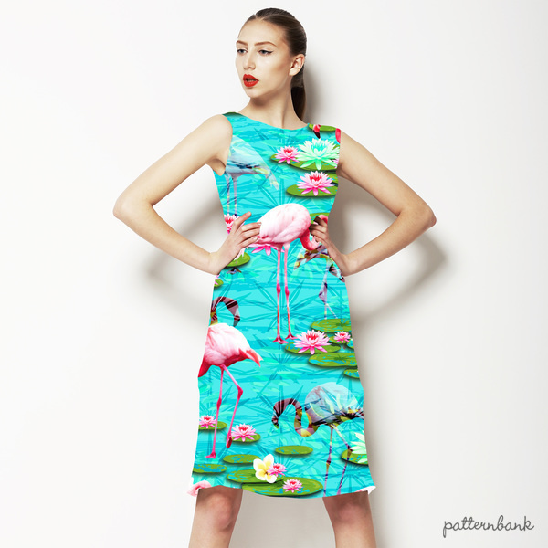 Tropical Flamingo and Lily Pad Water Print
