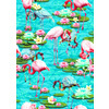 Tropical Flamingo and Lily Pad Water Print (Original)