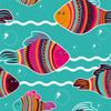 Colorful Seamless Pattern Witn Decorative Fishes (Original)
