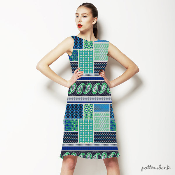 Ethnic Patchwork Geometric Repeating Border Stripe
