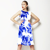 Indigo Blue Ink Irises on White (Dress)