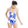 Indigo Blue Ink Irises on White (Swimsuit)