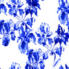 Indigo Blue Ink Irises on White (Original)