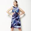 Bleached Indigo Tie Dye Textile Print (Dress)