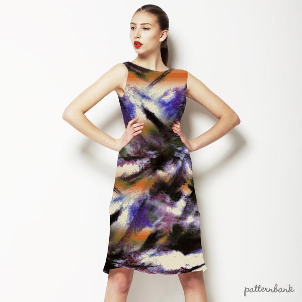 Blotted Tie Dye Textile Effect Stripe Print