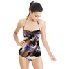 Blotted Tie Dye Textile Effect Stripe Print (Swimsuit)