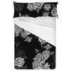 Lithograph Stories Vintage Wallpaper Monochrome Outlines Roses on Dark (Bed)