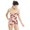 Flowers Leaves Brown and White Pattern (Swimsuit)