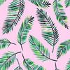 Watercoloiur Palms on Pink (Original)