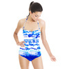 Ink Panted Indigo Blue Craft Boho Border Tie Dye (Swimsuit)