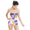 Purple and Yellow Watercolour Floral (Swimsuit)