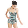 Geometric Native Black Green Pattern (Swimsuit)