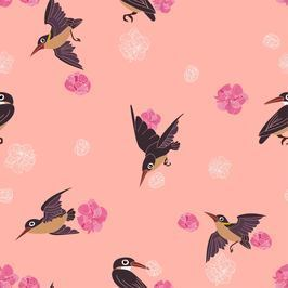 Swallow Pattern By Cutequokka2 Seamless Repeat Vector Royalty Free