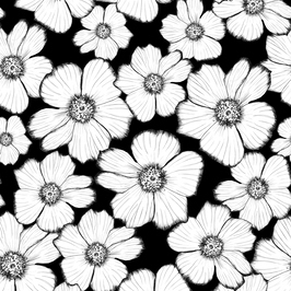 Black & White Florals Royalty Free Stock Repeat Floral Patterns